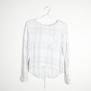Cloth & Stone Lace Up Tie Back Plaid Long Sleeve
